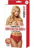 Premium Latex Crotchless Panty-red-m/l